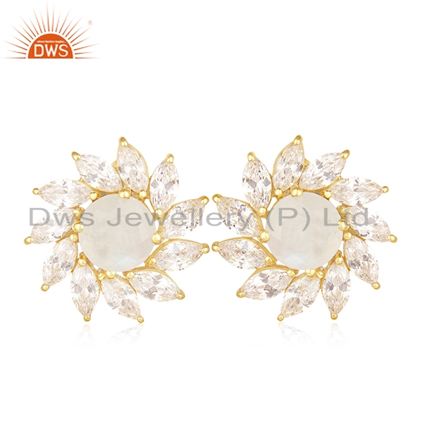 Floral Design Gold Plated Brass Fashion Gemstone Wedding Stud Earrings Wholesale