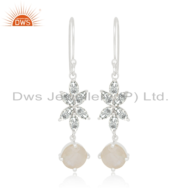 White Zircon and Rainbow Moonstone Brass Fashion Earring Manufacturer Jaipur