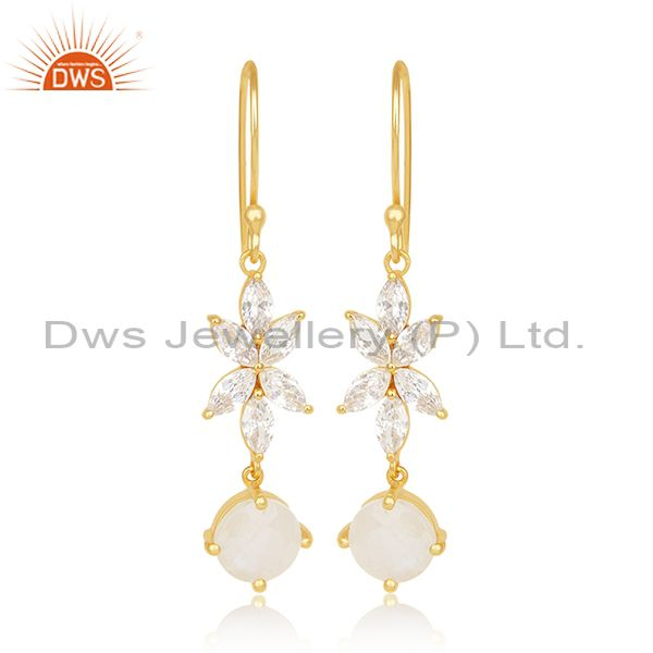 Designer Gold Plated Brass Fashion Multi Gemstone Dangle Earring Manufacturer
