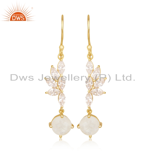 Rainbow Moonstone and Cz Gold Plated Brass Fashion Earring for Girls Jewelry