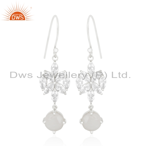 White Zircon and Rainbow Moonstone Fine Silver Plated Brass Earring Manufacturer