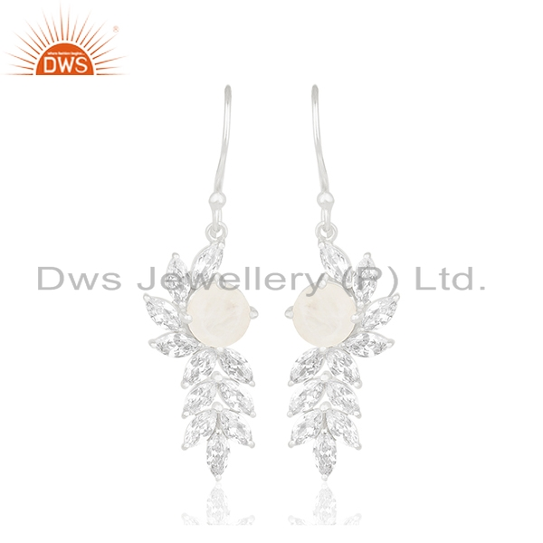 Fine Silver White Zircon and Rainbow Moonstone Brass Fashion Earring Wholesale