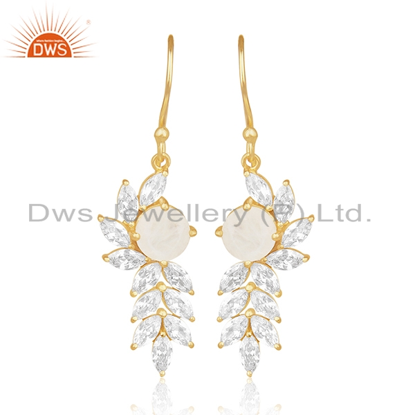 Gold Plated Brass Designer CZ and Moonstone Earring Fashion Jewelry Manufacturer
