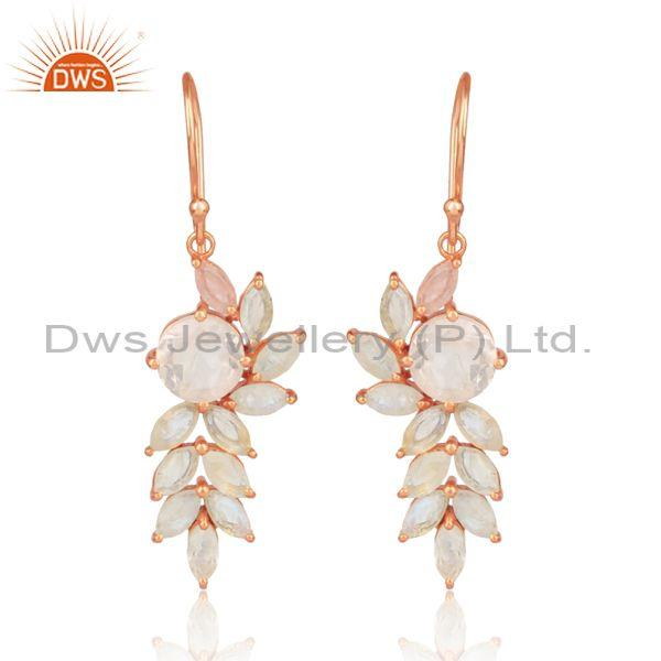 Rose Quartz Rose Plated Silver Floral Ear Wire Drop Earrings