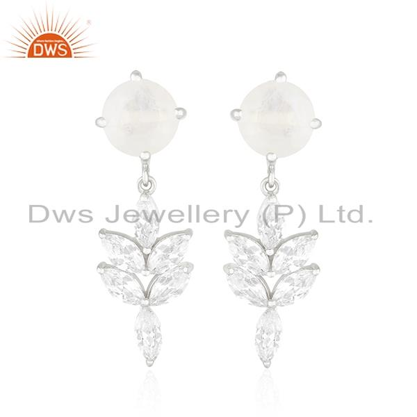 White Zircon and Rainbow Moonstone Brass Fashion Silver Plated Stud Earring