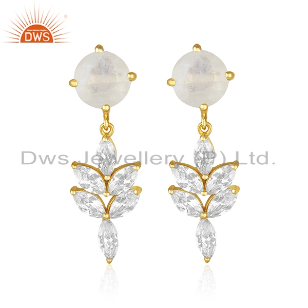 14k Gold Plated Brass Fashion Gemstone Earring Manufacturer of Wedding Jewelry
