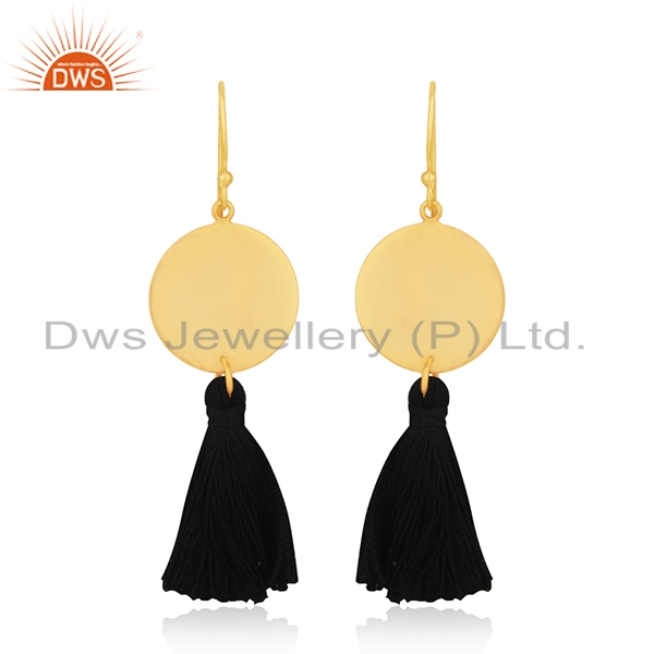Handmade Designer Brass Gold Plated Tassel Thread Earrings Manufacturers India