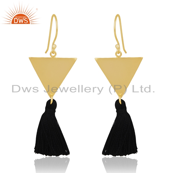14k Gold Plated Brass Fashion Handmade Black Thread Tassel Earrings Wholesale