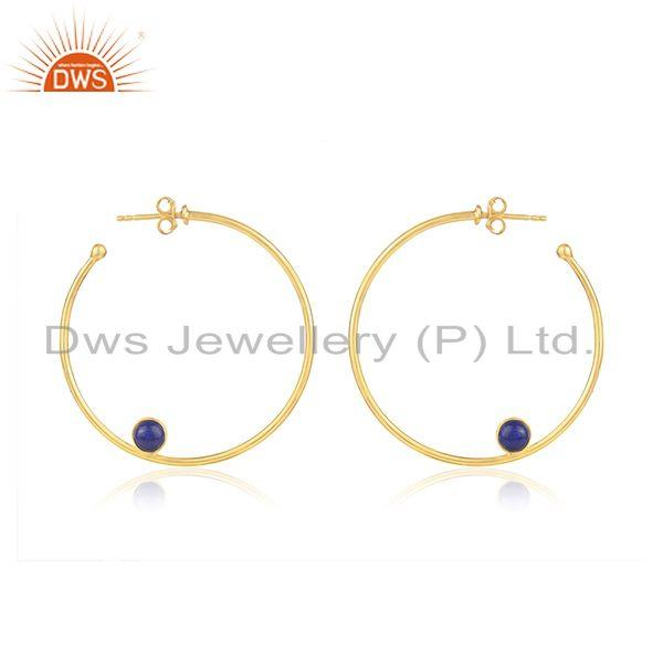 Lapis Handmade Gold Plated Silver Hoop Earring Jewelry