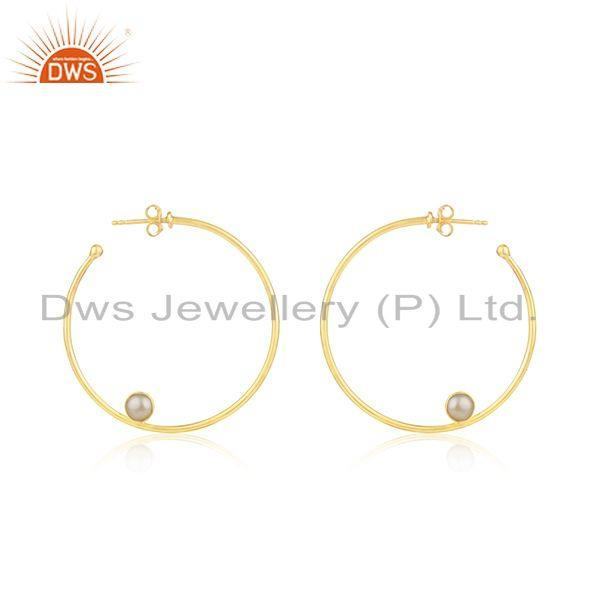 Natural Pearl Gemstone Silver Gold Plated Hoop Earring Jewelry