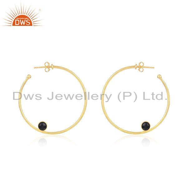 Black Onyx Gemstone Silver Gold Plated Hoop Earring Jewelry