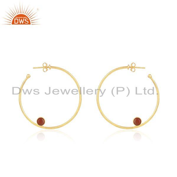 Wholesale Gold Plated Silver Red Onyx Gemstone Earring Jewelry