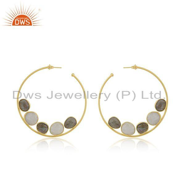 Multi Gemstone 14k Gold Plated Brass Fashion Hoop Round Earrings Wholesaler