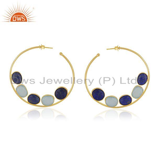 Lapis Aqua Chalcedony Silver Gold Plated Hoop Earrings