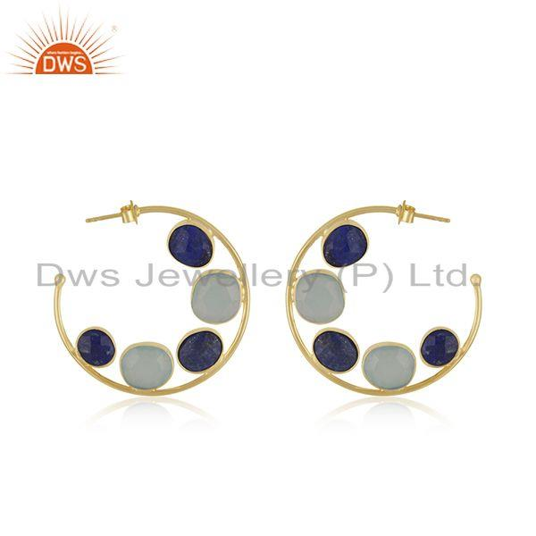 Chalcedony Lapis Gemstone Gold Plated Silver Hoop Earring Supplier