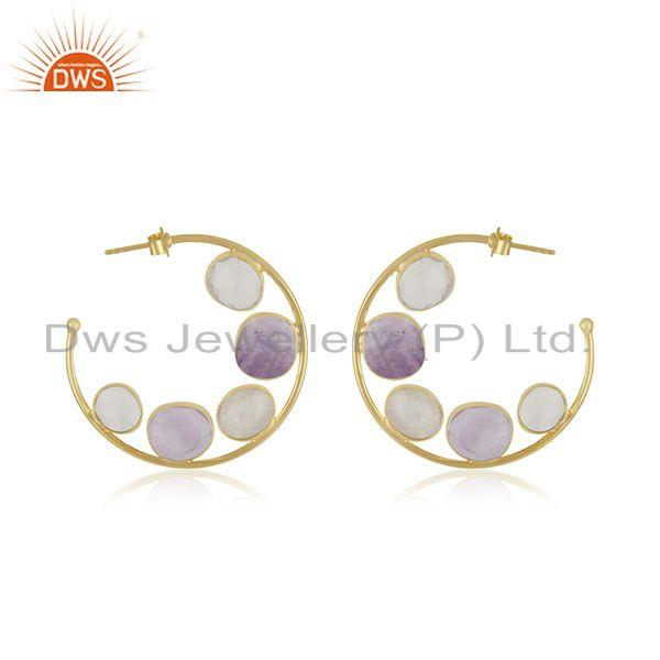 Rainbow Moonstone Amethyst Gemstone Hoop Earring Jewelry Supplier