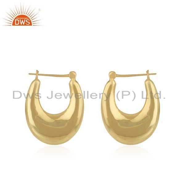 Designer Gold Plated Brass Chand Bali Hoop Earrings Jewelry