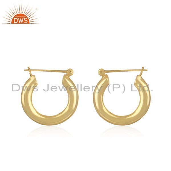 Handmade Designer Gold Plated Brass Bali Hoop Earrings Jewelry