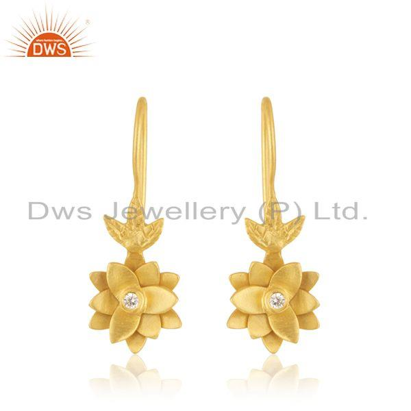 Designer Yellow Gold Plated Brass White Zircon Fashion Earrings Manufacturer