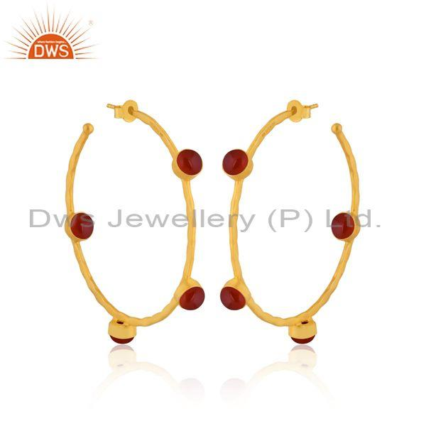 Red Onyx Set Gold On Sterling Silver Round Hoop Earrings