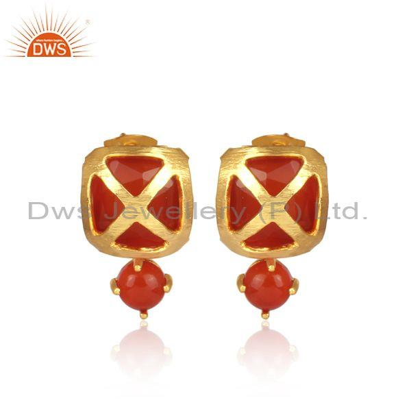 Carnelian Set Square Shape Turkish Style Brass Gold Earrings