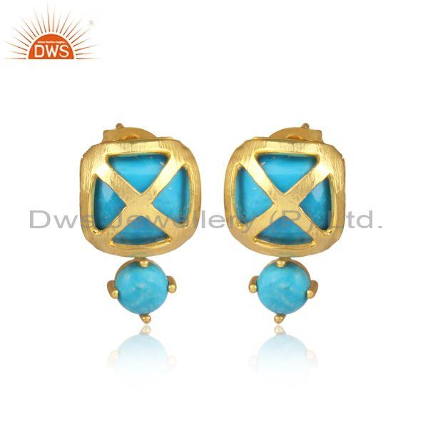 Turquoise Set Turkish Style Designer Brass Gold Earrings