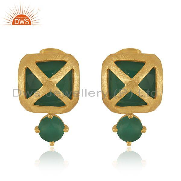 Designer Yellow Gold Plated Brass Fashion Green Onyx Gemstone Drop Earrings