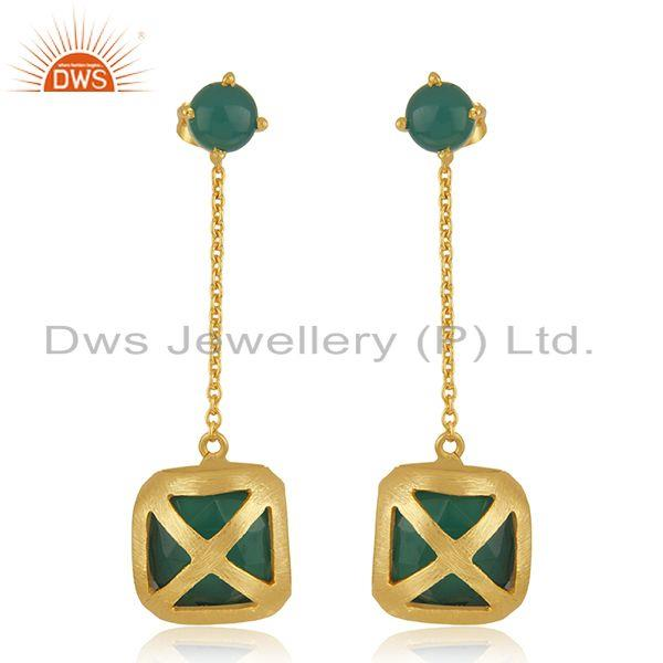 Designer Brass Gold Plated Green Onyx Gemstone Chain Earrings Manufacturer India