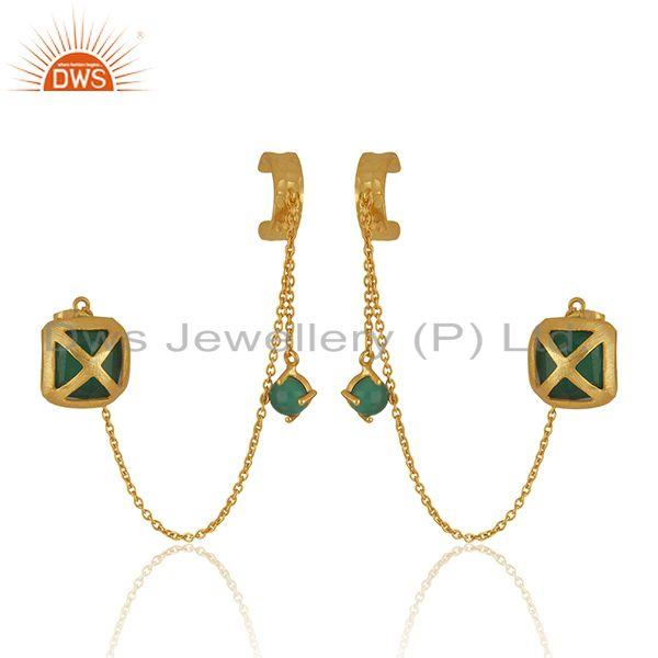 Green Onyx Gemstone Yellow Gold Plated Brass Fashion Cuff Earrings Wholesale