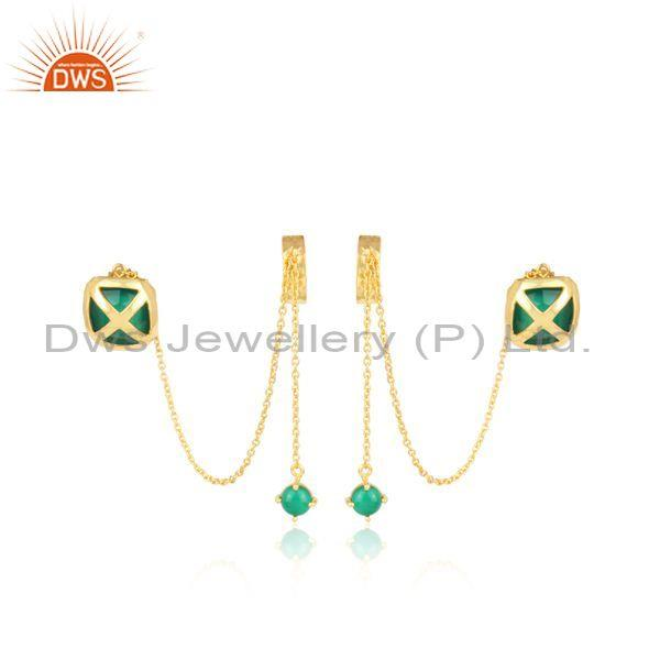 Green onyx set gold on silver long drop traditional earrings