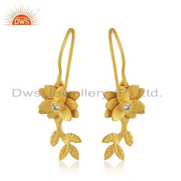 White Zircon Yellow Gold Plated Brass Fashion Designer Earrings WHolesale India