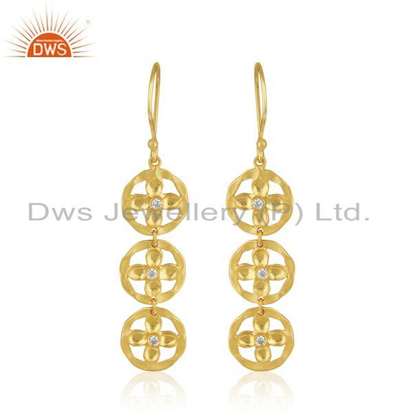 Handmade Gold Plated Brass Fashion Earring Jewelry Supplier
