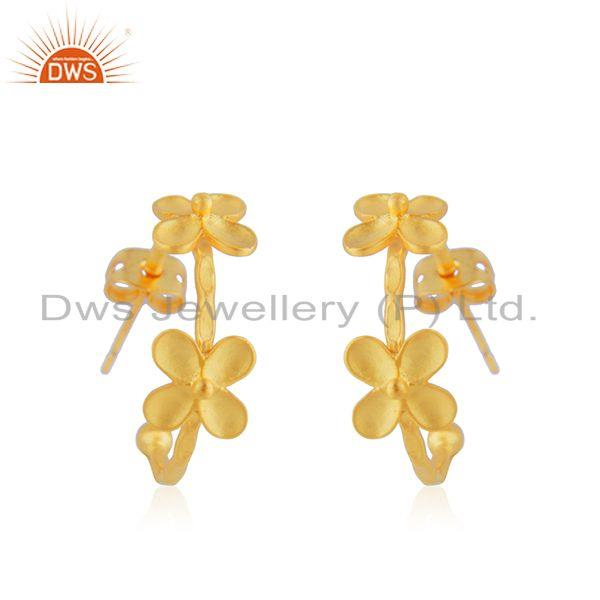 Flower Yellow Gold Plated Brass Designer Fashion Earring Jewelry Supplier