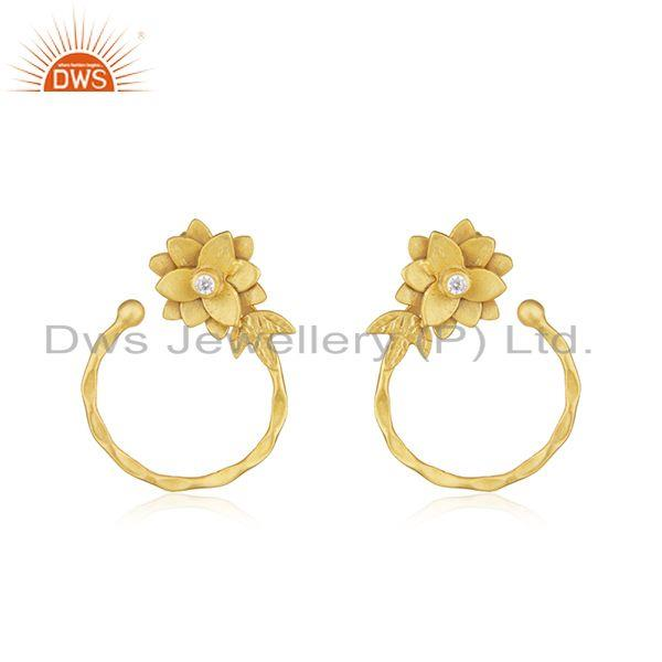 Floral designer Gold Plated Brass Fashion Earrings Jewelry Supplier
