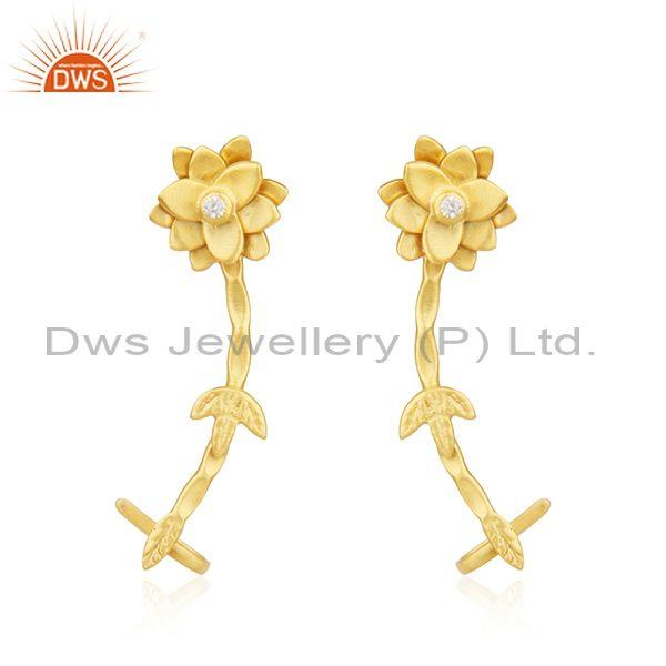Handmade Floral CZ Set Gold On 925 Sterling Silver Earrings