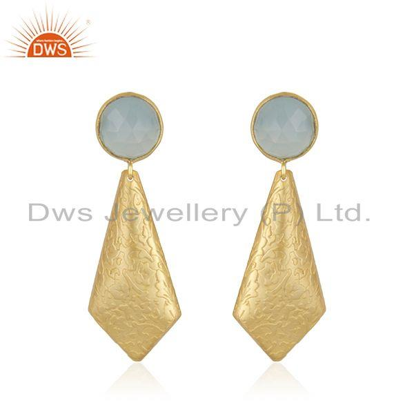 Texture Gold Plated Brass Aqua Chalcedony Gemstone Earrings Jewelry
