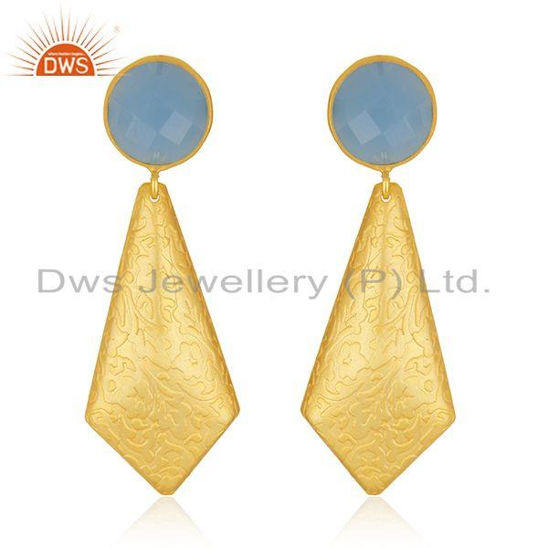 Blue Chalcedony Gemstone Texture Brass Designer Fashion Earrings Supplier