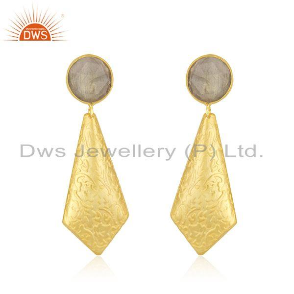 18k Gold Plated Texture Brass Labradorite Gemstone Earrings Jewelry