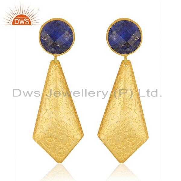 Lapis Gemstone New Arrival Gold Plated Brass Fashion Earrings Jewelry Supplier