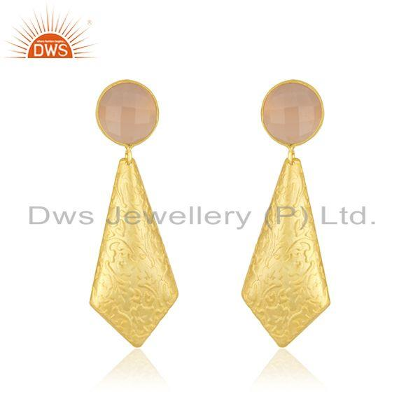 Designer Gold Plated Brass Rose Chalcedony Gemstone Fashion Earrings Jewelry