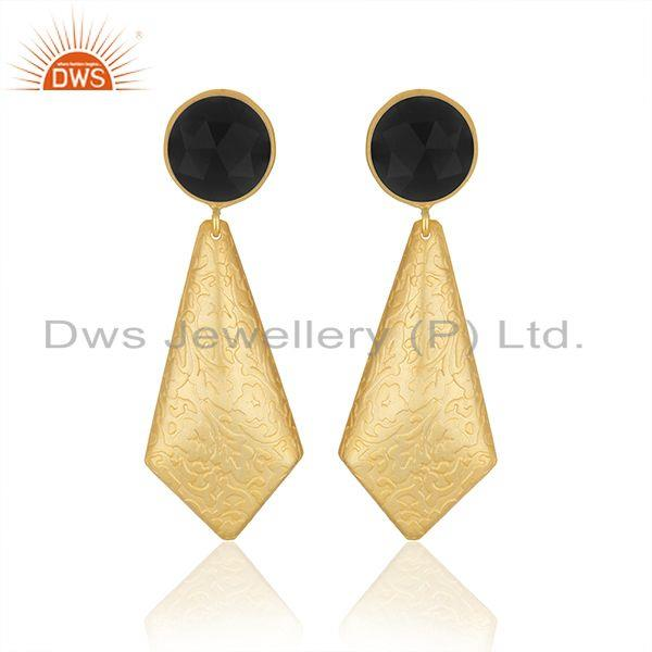 Black Onyx Gemstone Designer Gold Plated Brass Fashion Earrings Jewelry