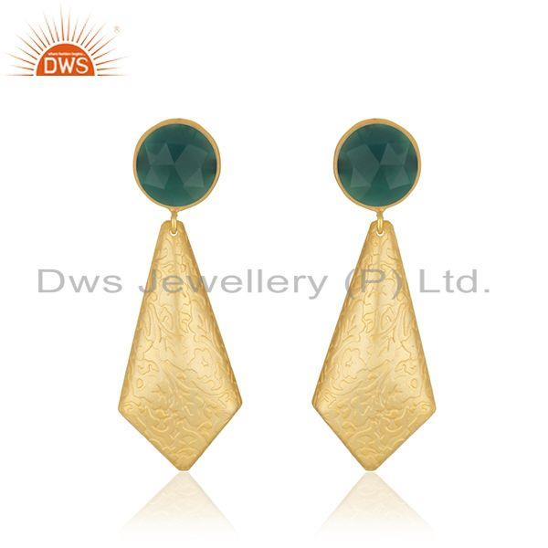 Texture Yellow Gold Plated Brass Green Onyx Gemstone Earrings Jewelry