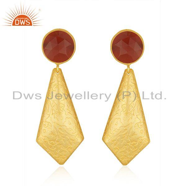 Red Onyx Gemstone 18k Gold Plated Brass Fashion Earrings Jewelry