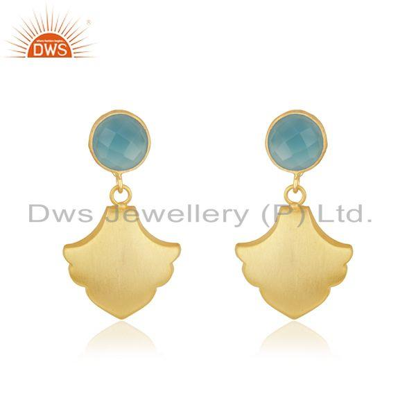Designer Gold Plated Brass Aqua Chalcedony Gemstone Earrings Fashion Jewelry