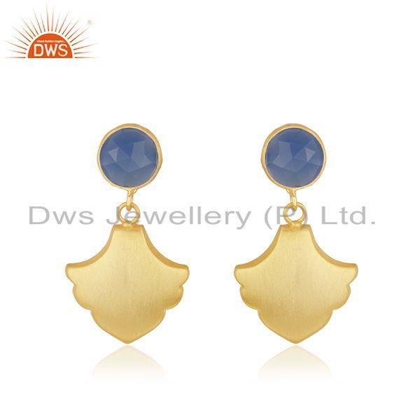 Wholesale Designer Gold Plated Brass Blue Chalcedony Fashion Earrings Jewelry