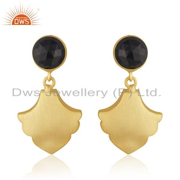 Wholesale BLack Onyx Gemstone Gold Plated Brass Fashion Earrings Jewelry