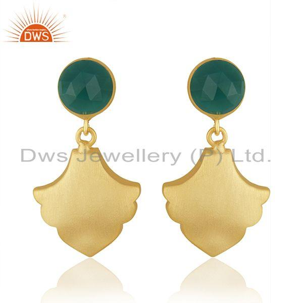 Green Onyx Designer Brass Gemstone Fashion Earrings Jewelry Supplier