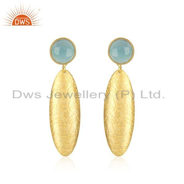 Handamde Designer Brass Fashion Aqua Chalcedony Gemstone Earrings Jewelry
