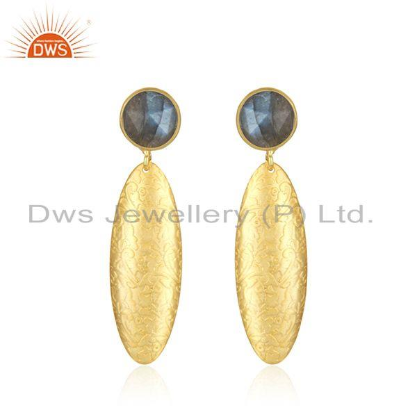 14k Gold Plated Textured Brass Labradorite Gemstone Fashion Earrings Jewelry