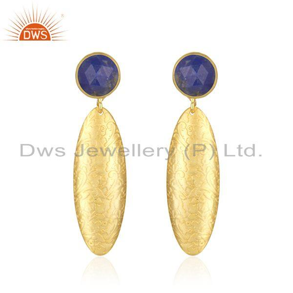 Wholesale Lapis Gemstone Handmade Gold Plated Brass Fashion Earrings Jewelry